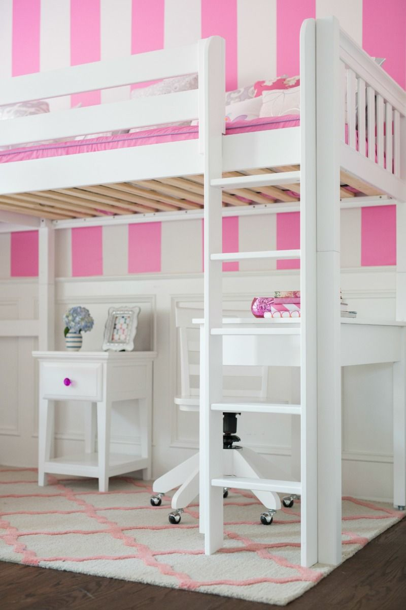 Straight Ladder For A White High Loft Bed With Desk And