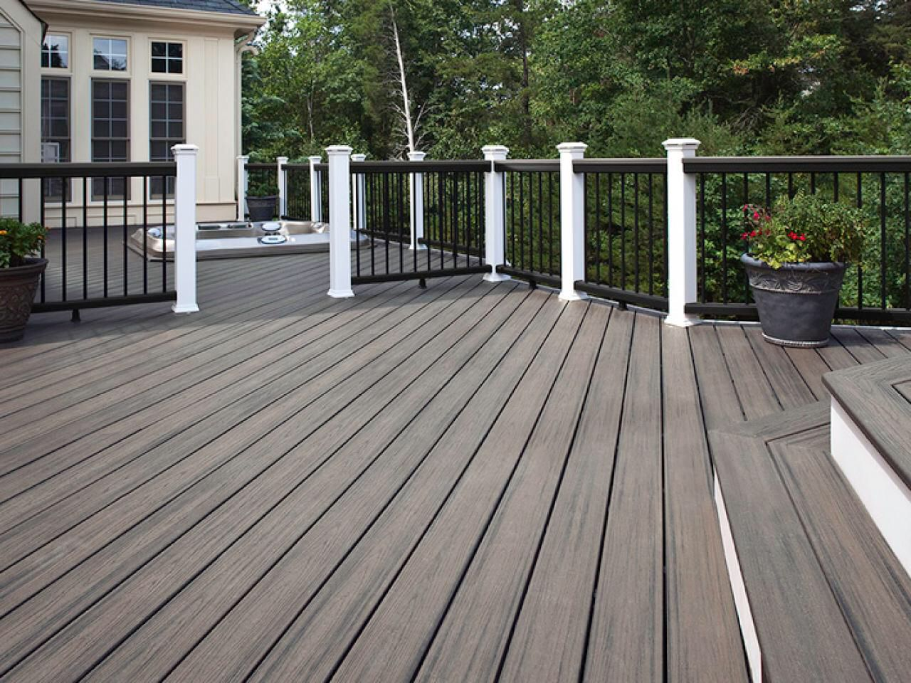 Grey Deck With White And Black Trim Sunken Hot Tub Building A Deck Decks Backyard