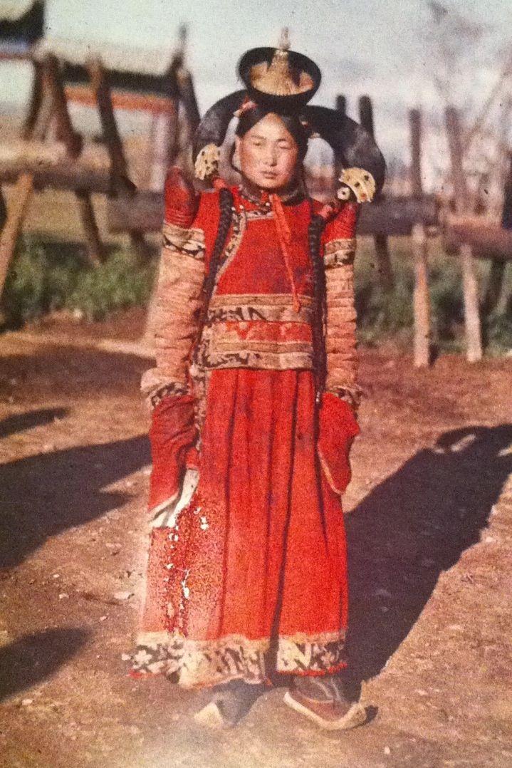 Princess of the Khalkha Mongols, with head-dress known as a boqtaq, 1913.