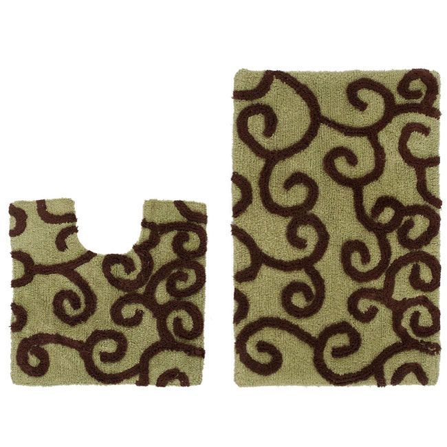 Celebration New Scroll 2 Piece Contour And Bath Rug Set Ping