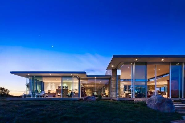 The modern architecture of the beautiful house at dawn a