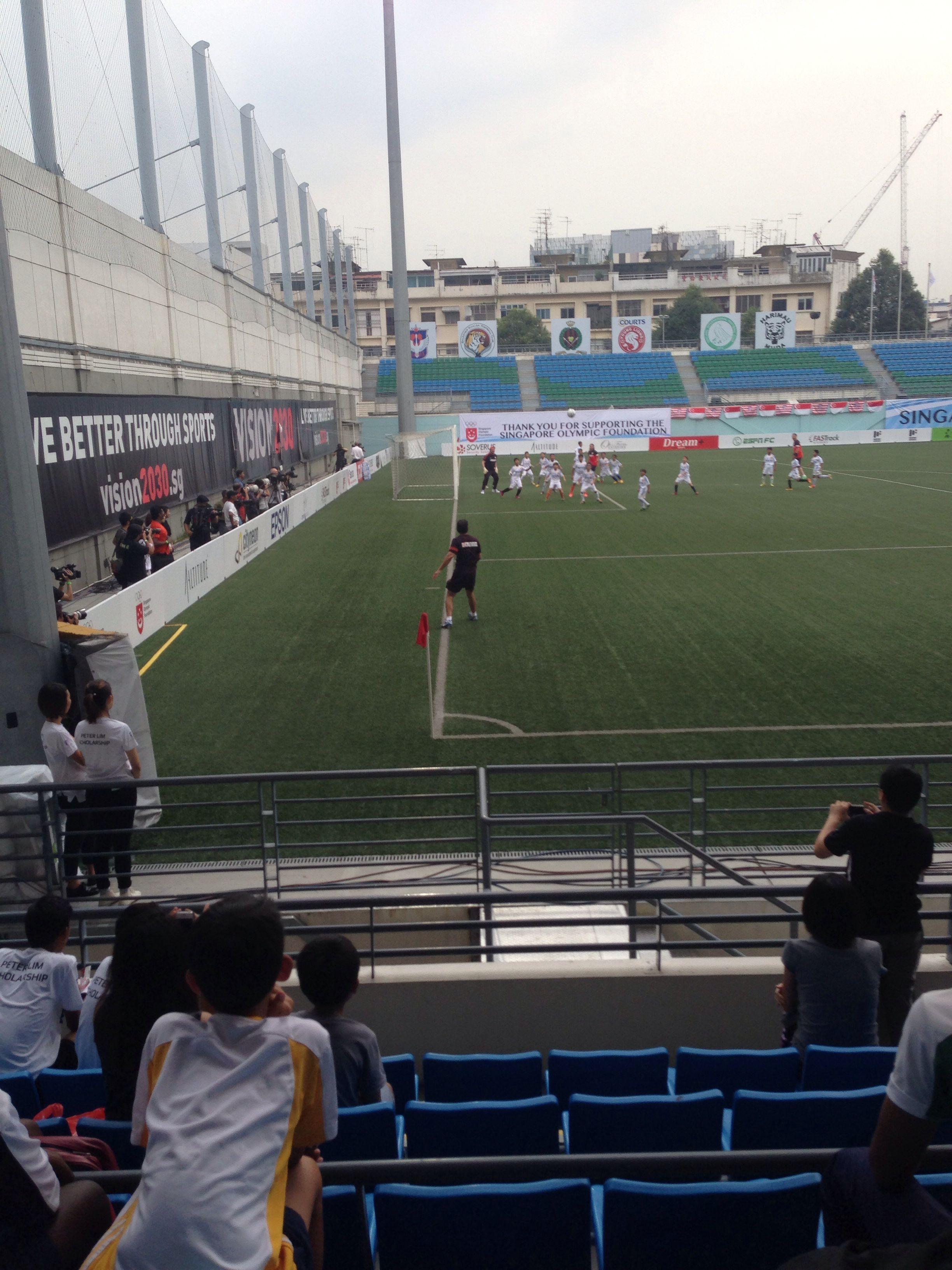 Jalan Besar Stadium Hola Singapore Atletico Madrid V 128 Kids For Charity A Soccer Field Football Soccer