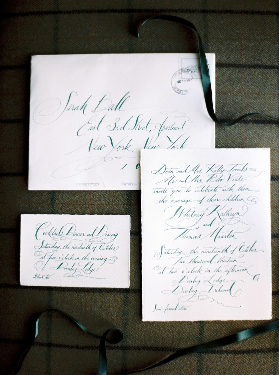 We searched for the perfect invite for months. We wanted something traditional but also something that uniquely suited Doonbeg—it is such a special place—and that would set the scene for our guests. When we saw Tara Jones's work, we knew her calligraphy style was the perfect match.