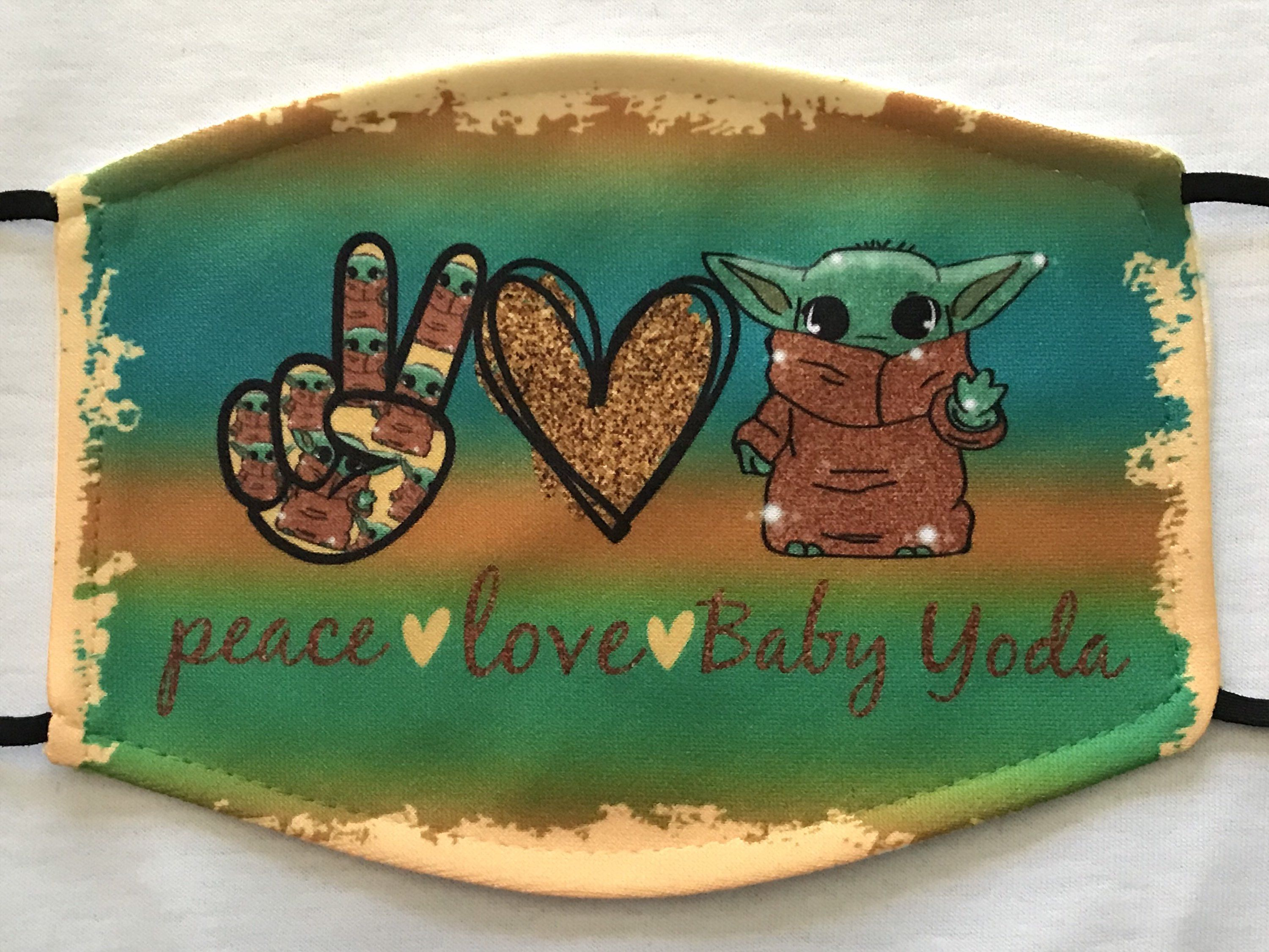 Peace Love Baby Yoda Face Mask includes Filter Pocket and