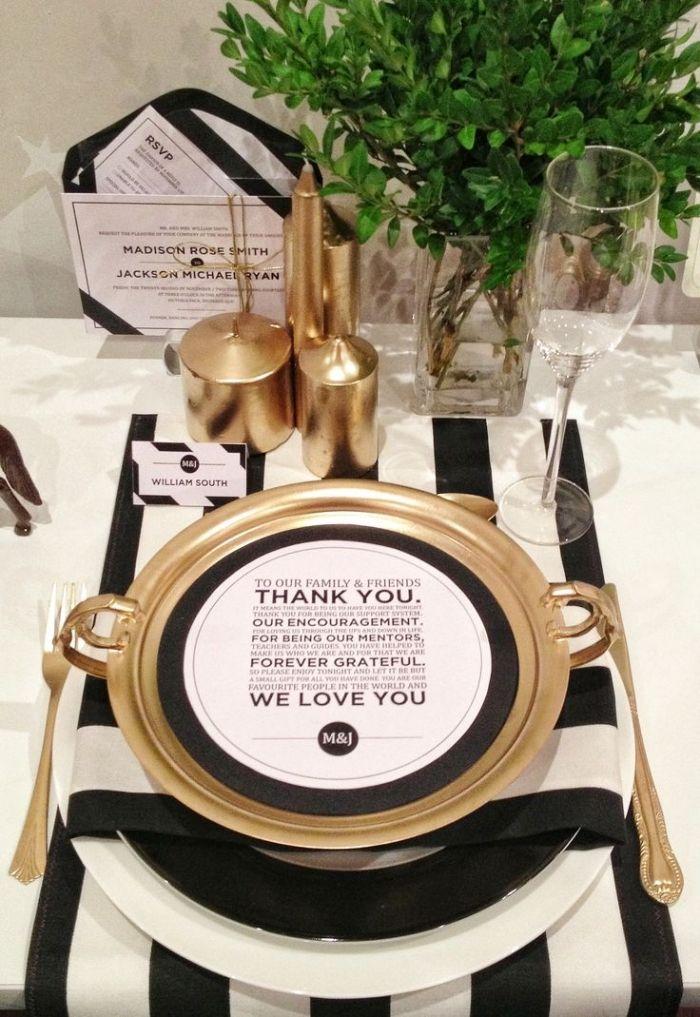 Tischdeko Hochzeit Schwarz Weiss Gold Geschirr Kerzen Die