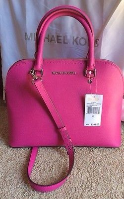 cool Michael Kors Cindy Saffiano Leather Large Dome Satchel Fuschia Pink - For Sale