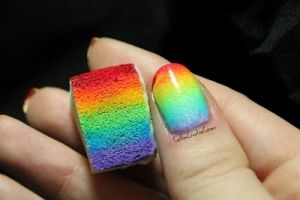See how the gradient worked itself out. just put paint lines on cosmetic sponge it soaked it all up dab on nails the colors magically by beulah