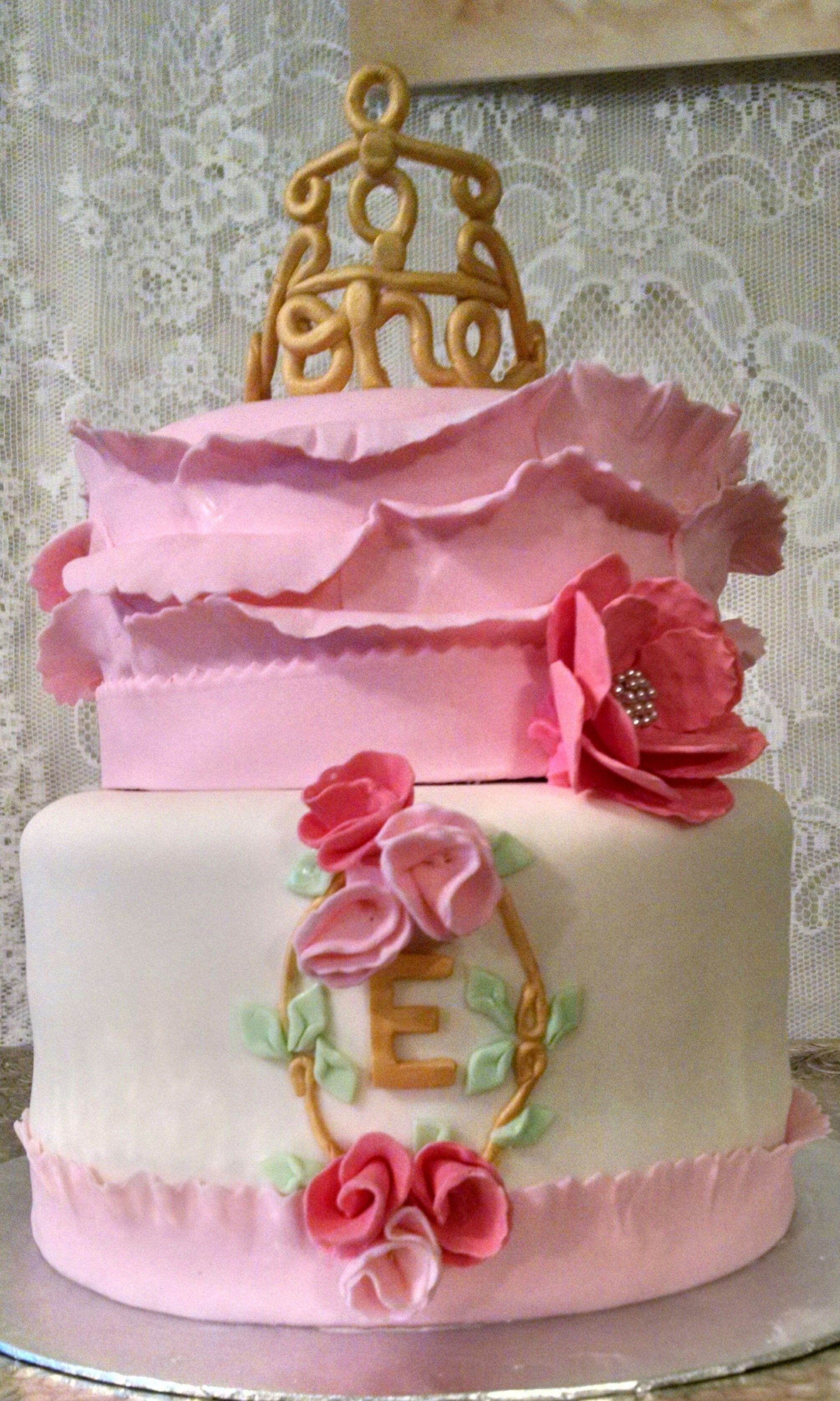 First Birthday Cake Tea Party Themed Party Elegant Cake With An