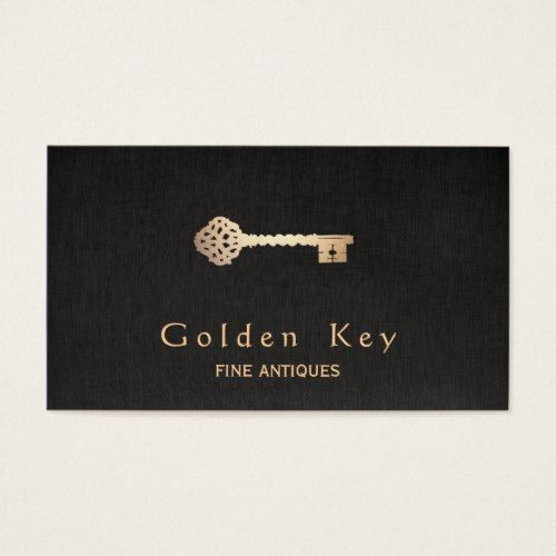Gold Vintage Skeleton Key Antique Furniture Dealer Business Card - Gold Vintage Skeleton Key Antique Furniture Dealer Business Card