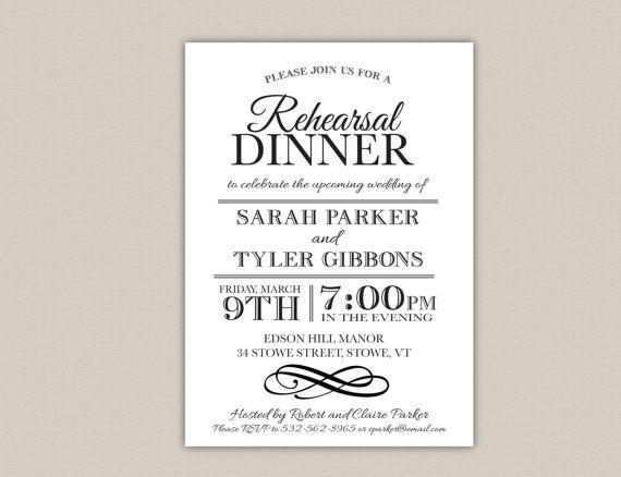 Printable Rehearsal Dinner Invitation Elegant Modern Diy