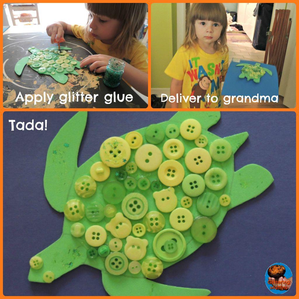 Make Australian Inspired Dot Art Button Turtles With