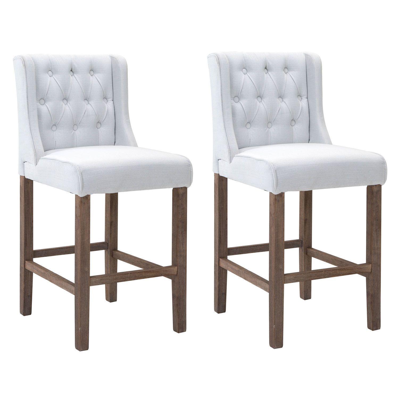 Homcom 40 Tufted Wingback Counter Height Armless Bar Stool Dining Chair Set Of 2 White Walmart Com Wingback Dining Chair Bar Stools Dining Chair Set
