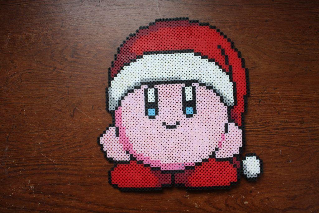 perler bead christmas kirby by puppylover5 - Perler Beads Christmas