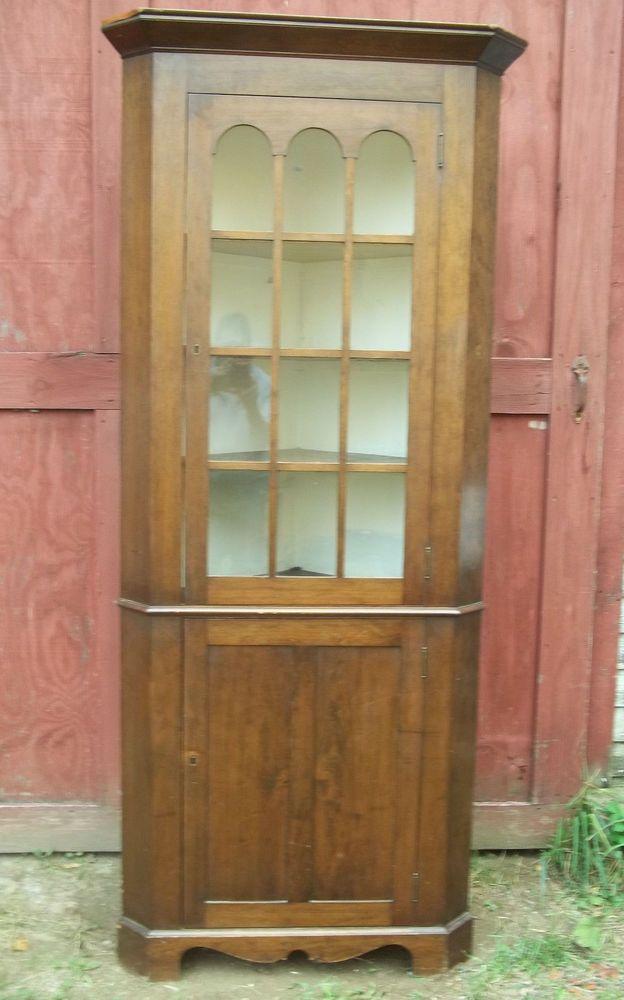 Rare Small Size 19th Century Glass Door Cherry Corner Cupboard