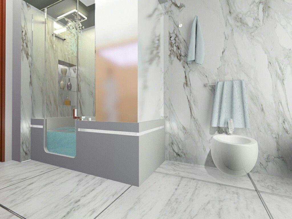 Bagno Rivestimento E Pavimento In Marmo Carrara Box