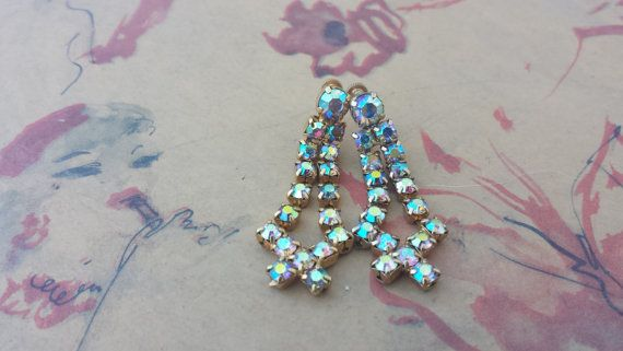 Lovely Vintage AB Pink, Blue Aurora Borealis Rhinestone Gold Tone Dangle Criss-Cross Design Screw Back Earrings