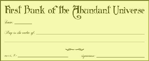 Law Of Abundance Check Template  Believe Learning The Secret