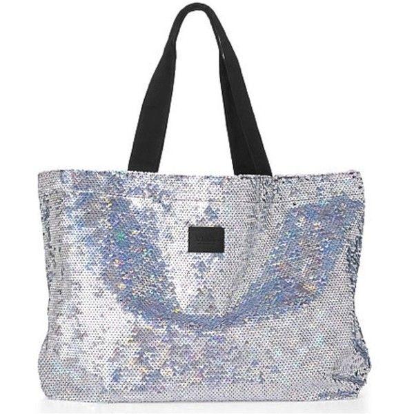 18b94aa2a425a Amazon.com : Victoria's Secret Pink Sequin Tote Bag Silver Sequin ...