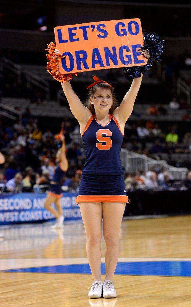 Syracuse Orange Cheerleader Showing Her Spirit At The Game