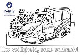 kleurplaat politievoertuigen verkeer voertuigen