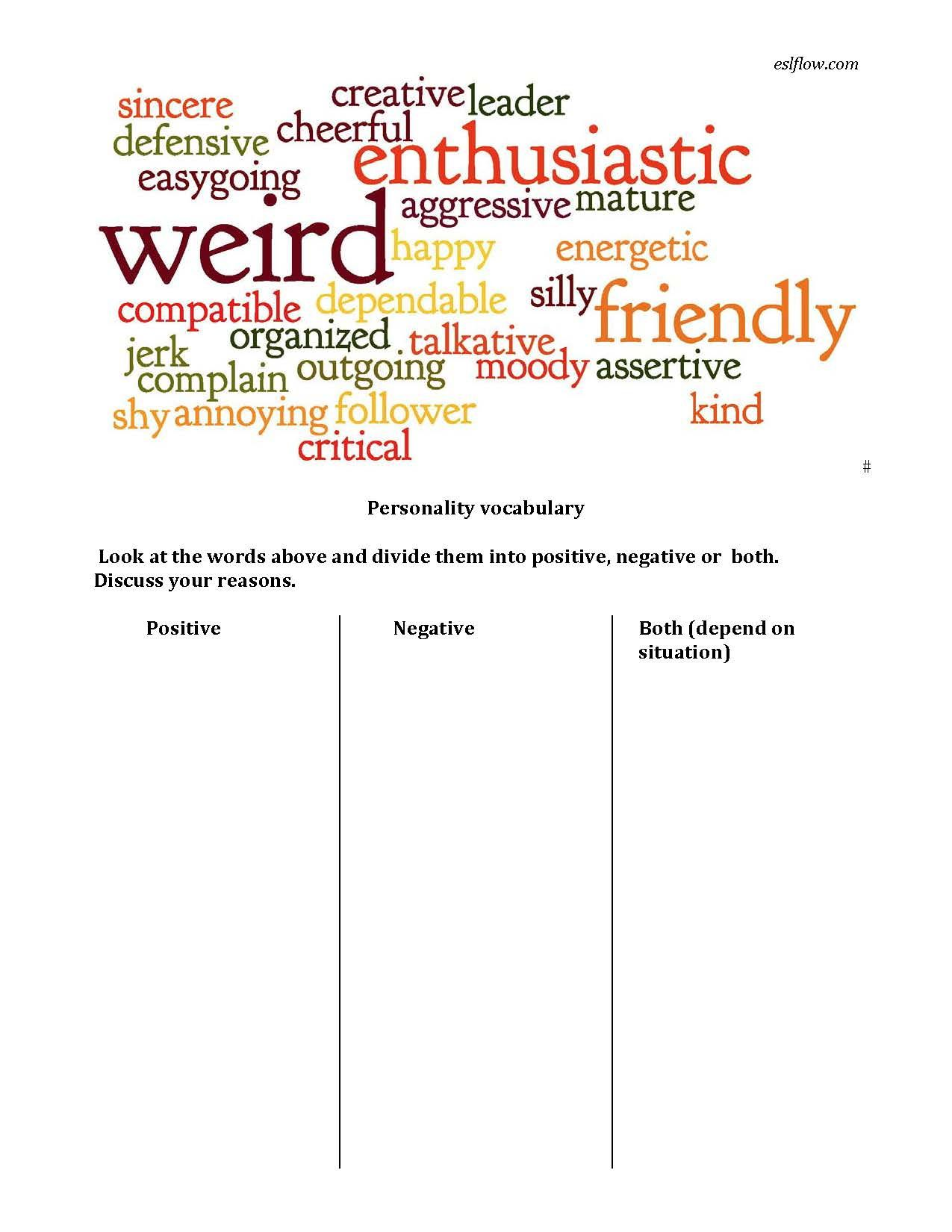 Personality Adjective Vocabulary Worksheet For English