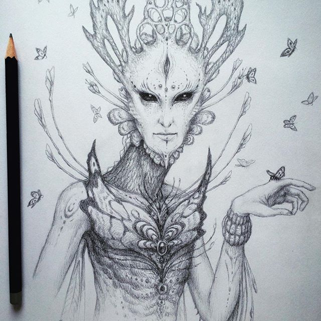 A pencil sketch of an alien like plant spirit creature d i love doing these ✌️ps you can get 20 off on any prints by me in my shop by using the