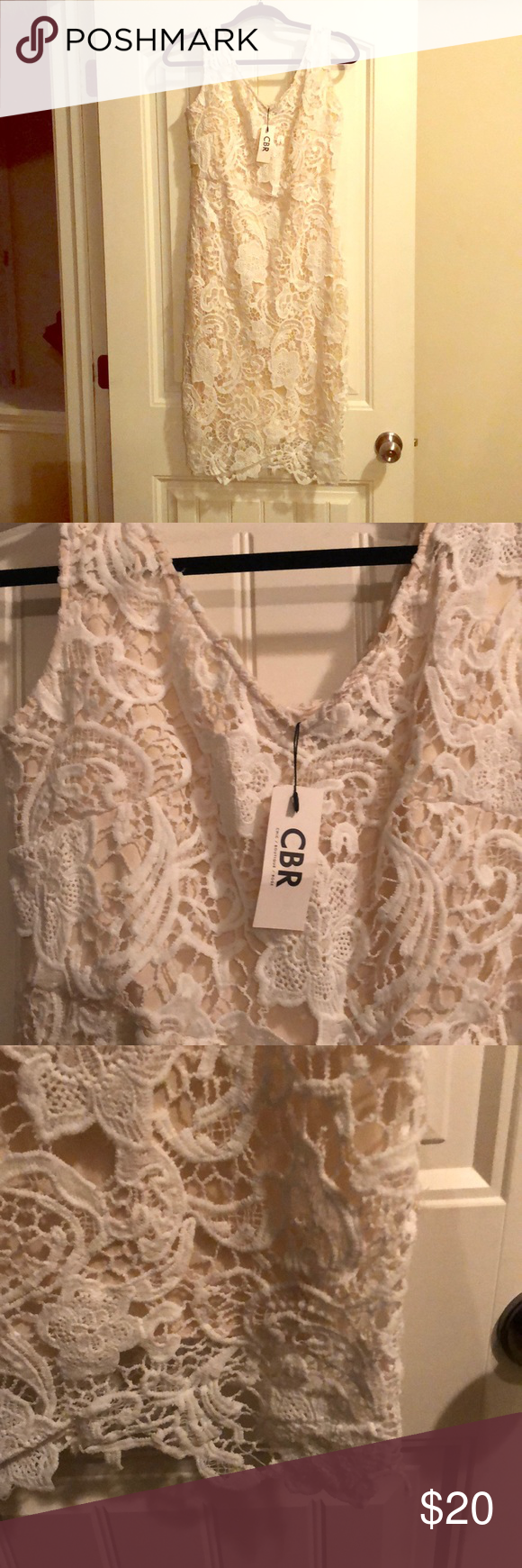 ea8bdb8a92 Off white/winter white mini dress Boutique dress- off white lace with low  stretch to it. I never wore because it was too small for me.