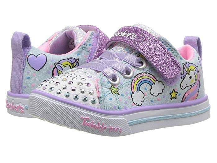 Skechers Kids Girls Twinkle Toes Sparkle Infants Canvas Light Up Shoes Trainers