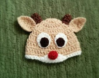 crochet reindeer hat.  crochet Rudolph hat.  winter and Christmas holiday hat for baby, infant, toddler.  newborn, 3 6 9 12 18 24  months