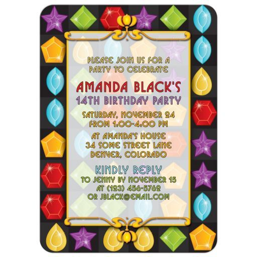 Jewel Puzzle Video Game Birthday Invitation Video game Party