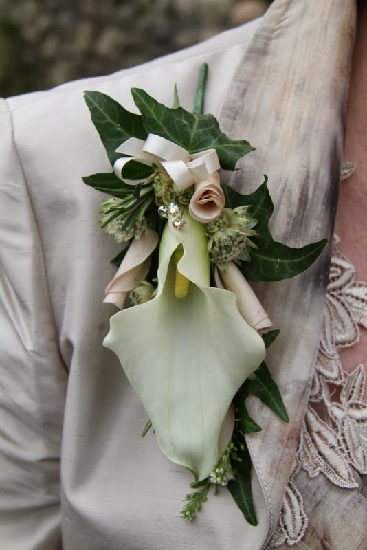 Epaulette corsage of Calla Lilies and Rolled Rose Petals
