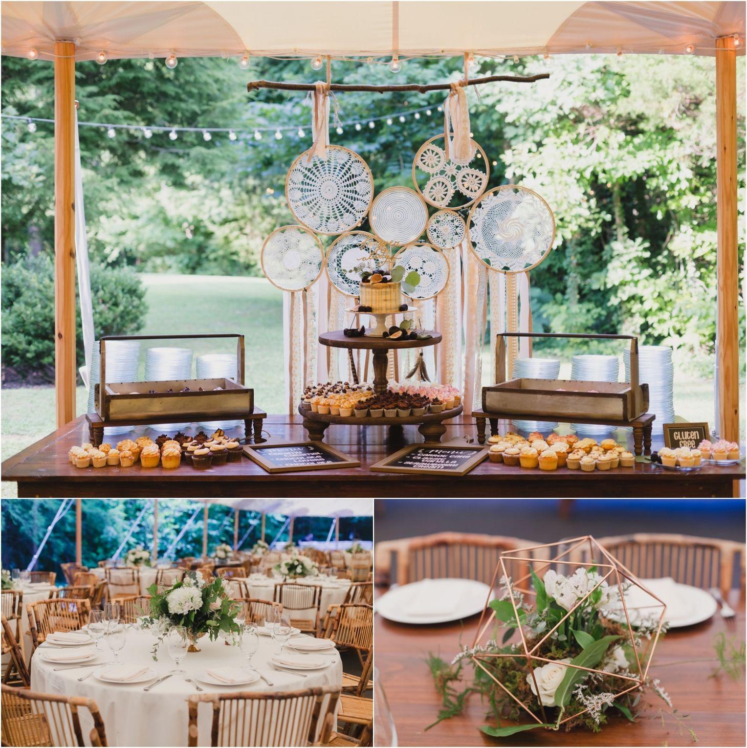 Boho wedding decor ideas fig cake with diy doily backdrop
