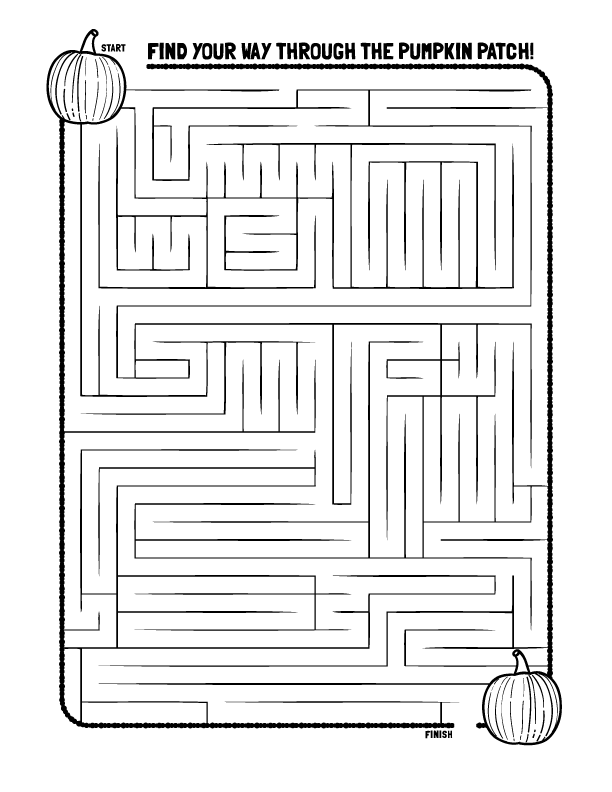Pumpkin Maze Coloring Page Creative Kids Crafts