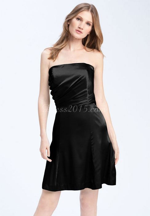 Modern A Line Satin Strapless Ruching Knee Length Black Dress