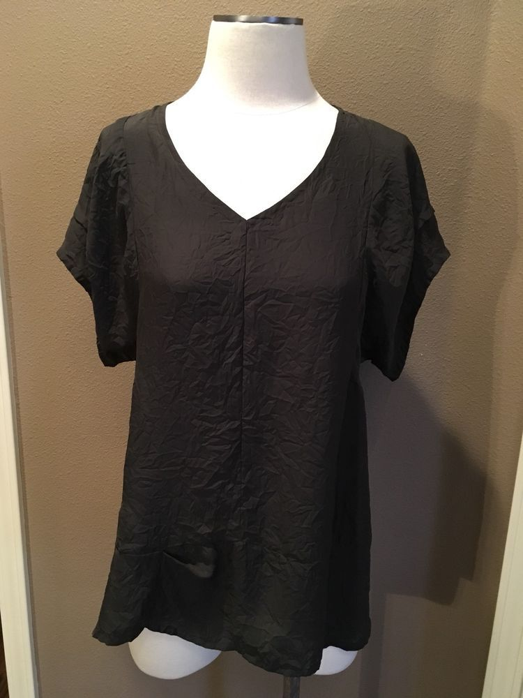 Nwot Babette Blouse Top S Brown Gray Short Sleeves V Neck Tucks