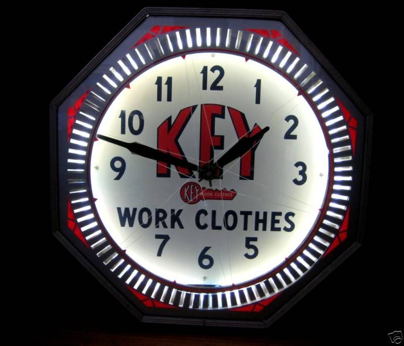 Key Work Clothes Antique Advertising Clocks Neon Spinner