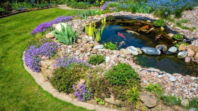 Gartenteich, Gartengestaltung, Ideen, Harmonisch, Wasser, Natürlich, Stein,  Sträucher