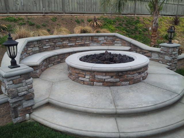 Natural Gas Stone Firepit Stone Veneer 6 Foot Round Firepit With Bench Stamped Concrete And Bullnose Concrete Backyard Fire Stone Fire Pit Fire Pit Seating