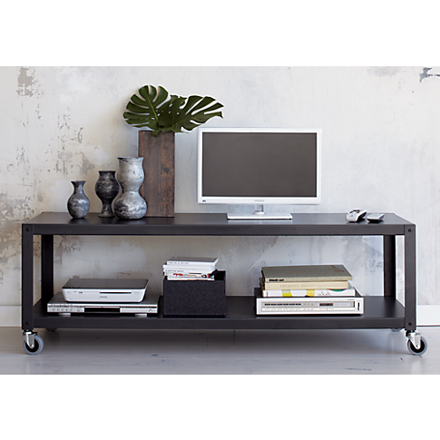 Go Cart Carbon Grey Two Shelf Table