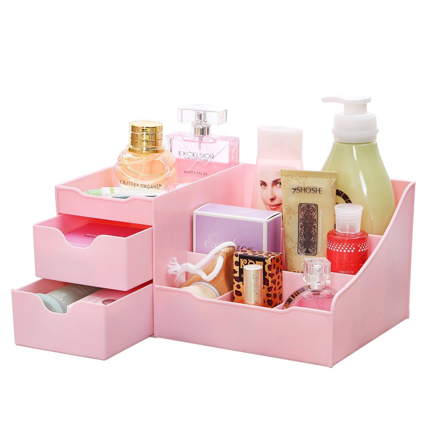 Aufbewahrung Kosmetik Ideen Pink Makeup Cosmetic Accessory Jewelry Organizer With