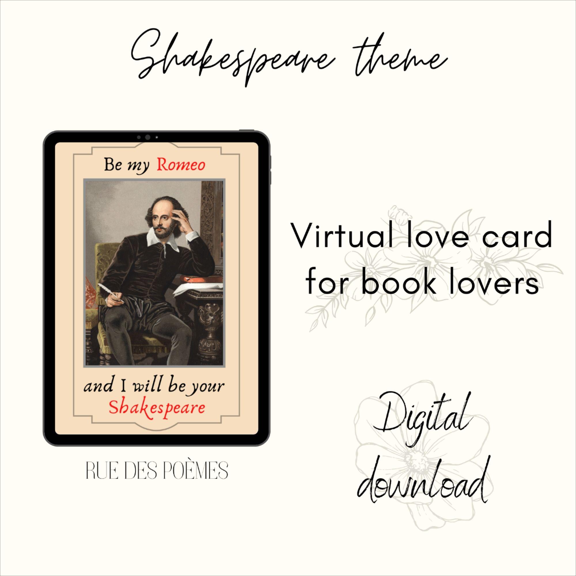 Virtual Love Card - Digital Love Card - Book Lover Gifts - Notes