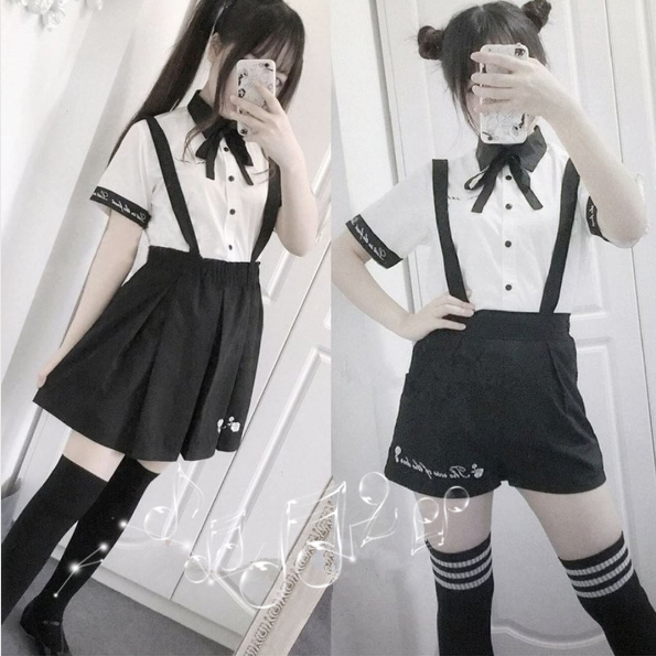 21f15a3838 Cute students embroidered shirts straps shorts/skirts two-piece SE10307 Use  code
