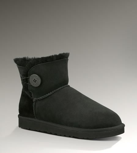 Ugg Outlet Bailey Button Mini Black Boots 280136