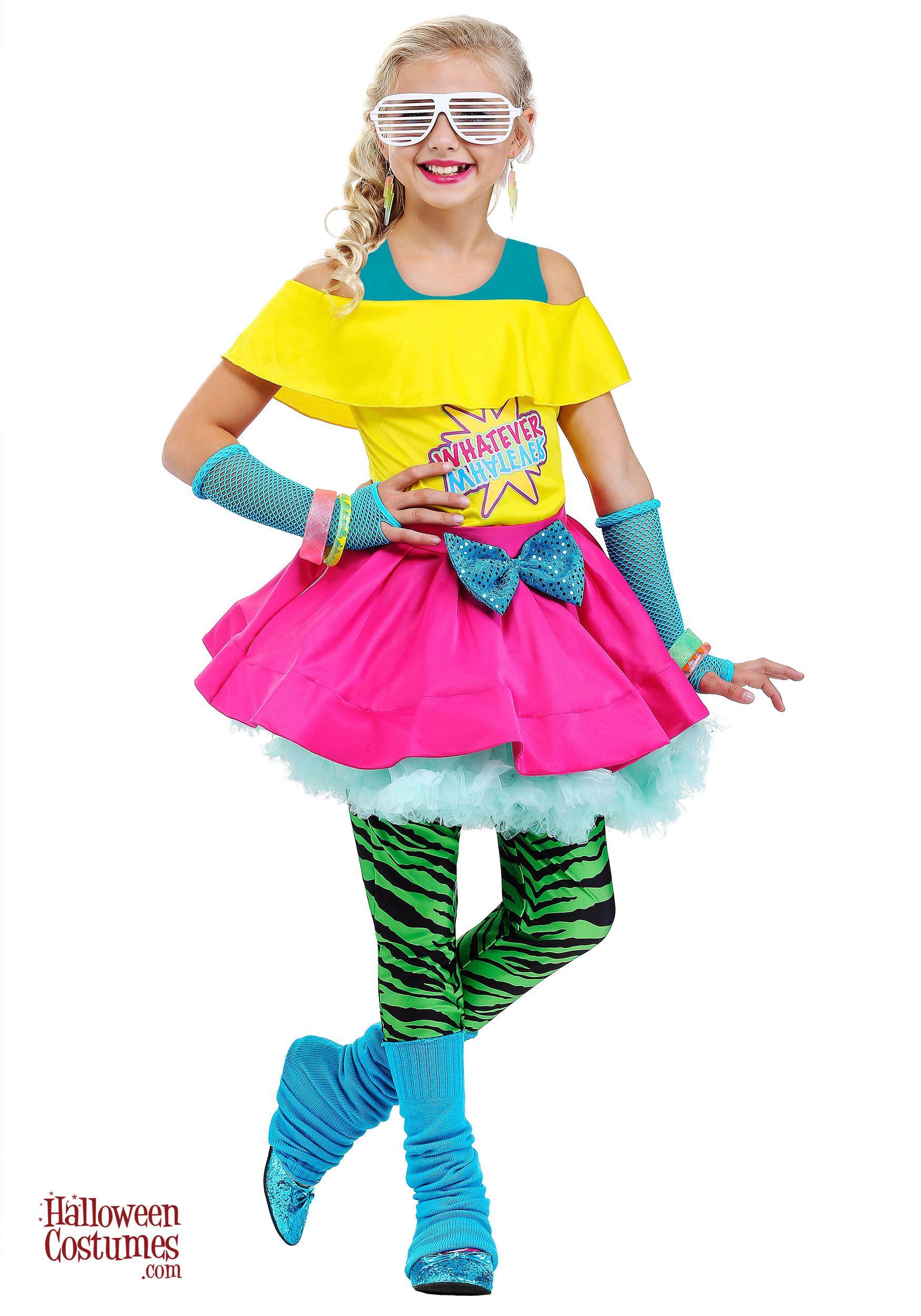 80/'s Valley Girl Child Costume Medium 8-10 Blue//Pink