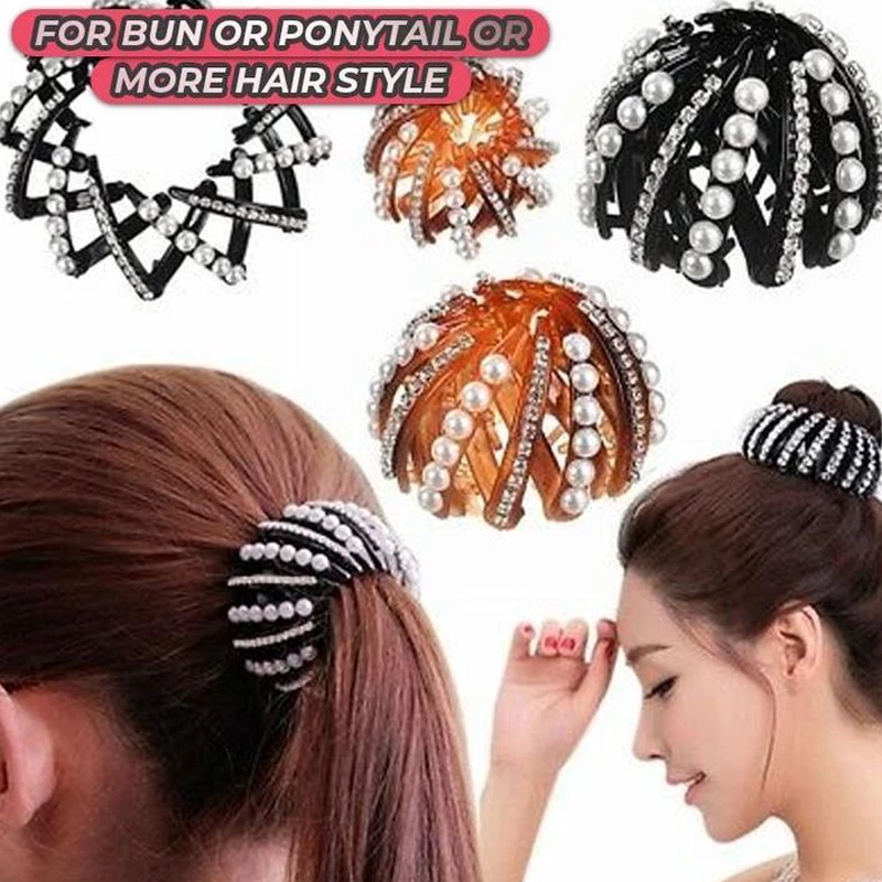 Girls Bird Nest Expanding Bun Maker Hair Claw Crystal Ponytail Holder Hair Clips
