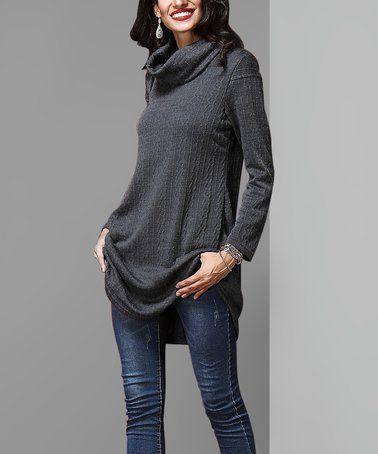 8253034efac Loving this Charcoal Cable-Knit Cowl Neck Tunic on  zulily!  zulilyfinds