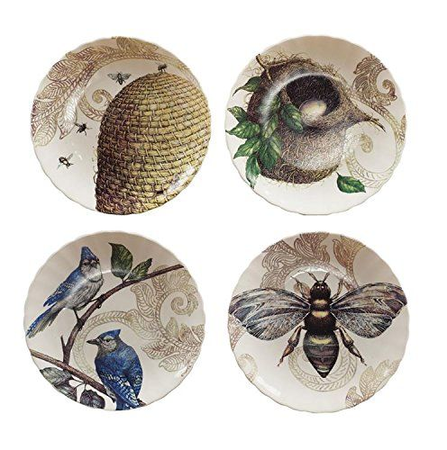 Round Stoneware Decorative Plates Set Of 4 Styles Bee Hive Bird Nest Blue Jay Country Home Décor BCD http://www.amazon.com/dp/B00L0S1W44/ref=cm_sw_r_pi_dp_NjA2tb1SKEGN4X42