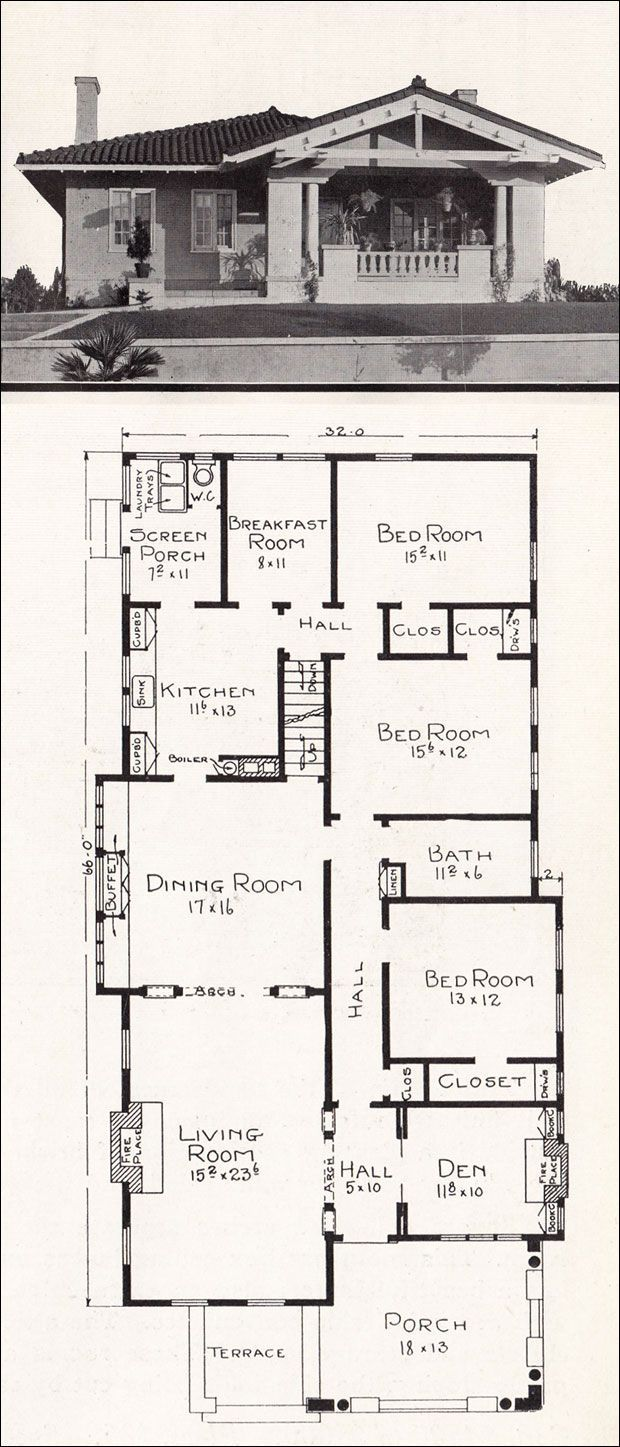 Image Result For 1940s Bungalow Floor Plans Narrow Lots