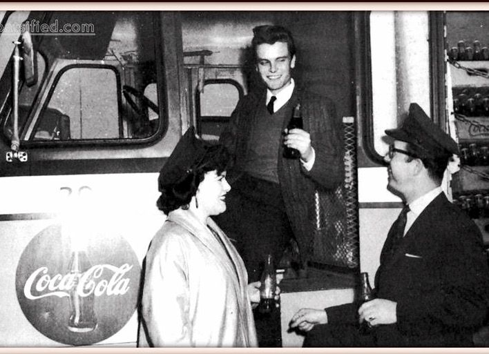 Things go better with a Coke and Patsy Cline! With Vernon Taylor and Don Owens for a Coke Publicity Photo Washington D.C. area bottling company. Late 1958 or early 1959..
