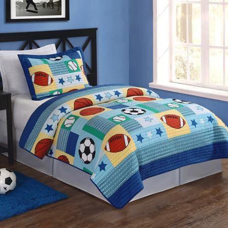 Sports Twin Bedding Quilt Set, Blue | Twins : sports quilt bedding - Adamdwight.com